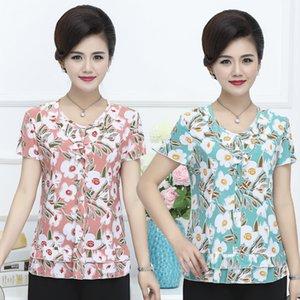 2020 Women Summer T-shirt Printed Chiffon Short Sleeve Women's Tshirt Middle-aged Mother Shirts Plus Size L-5XL Female Tops W57