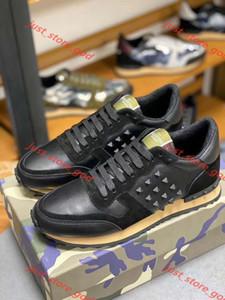Valentino Мужского Rockrunner Камуфляж дизайн обуви мода Luxe женщины тапок ботинки из натуральной кожи Mens женщин Flats вскользь тренер xshfbcl