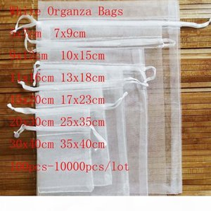 Wholesale 100 Pcs lot White Drawstring Organza Bags&small Pouches Jewelry Package Bags Christmas Wedding Packaging Gift Bags