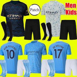 الأطفال الكبار كيت 20 21 مانشستر JESUS DE BRUYNE KUN AGUERO مدينة جيرسي لكرة القدم 2020 2021 MAN SANE MAHREZ كرة القدم جيرسي قميص