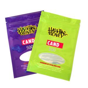 Hashtag медовая сумка упаковка 500 мг запах доказательства молнии милар пакеты фиолетовые зеленые 2 цвета DHL бесплатно