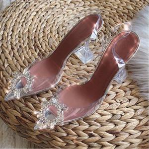 sandali trasparenti di H9cm donne con la punta 2020 nuova parola con diamante acqua sexy Baotou tacchi Runway Fashion Style