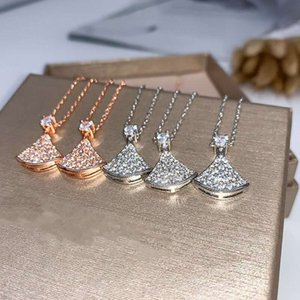 Luxury jewelry fashion designer necklace high-grade diamond skirt necklace 18K gold plated chain length 45+5CM original box