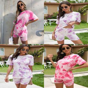 Womens Sportswear Short Sleeve Outfits 2 Piece Set Jogging Sport Suit Sweatshirt Tights Sport Suit Fashion Print Pantsuit Klw4405#689