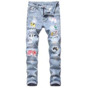 Men's light blue trend patch ripped jeans men's slim stretch apparel locomotive pants fashion personality fashion designer jeans