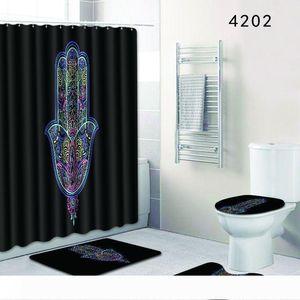 Mural Shower Curtain Bath Room Sets Toilet Closestool Carpet Bathroom Pads Door Mat Suit Eco Friendly Bardian 56dl KK