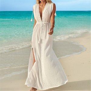 White Beach Cover up Kaftans Sarong Bathing Suit Cover ups Beach Pareos Swimsuit Cover up Womens Swim Wear Beach Tunic #Q637 T200708