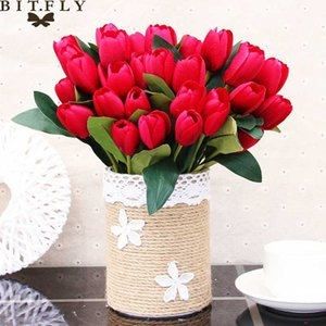 30cm Silk PU Tulips Artificial Flowers Bouquet 9 Big Head and 1 Bud Cheap Fake Flowers for Home Wedding Decoration indoor