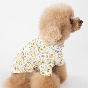 قمصان INS الأزياء المطبوعة الحيوانات الأليفة ملابس داخلية لمسة ناعمة الحيوانات الأليفة القطن الصيف أحدث تصميم بلدغ أفطس الملابس