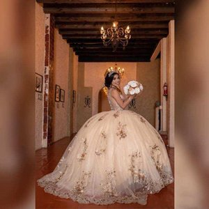 2020 Beaded Crystals Lace Gold Quinceanera Prom Dresses Sheer Neck Tulle Sexy Ball Gown Evening Party Sweet 16 Dress robes de soiree