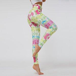 Gymkm Donne noni pantaloni di stampa Esecuzione Lady Fitness vita alta Palestra Abbigliamento traspirante Menzione Hip Sport Leggings movimento pantaloni