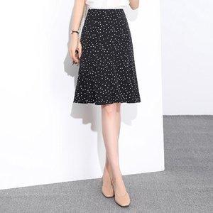 New A- LINE DRESS apron apron polka dot women's 2020 flounces stitching hip skirt all-match medium skirt fresh A- line dress