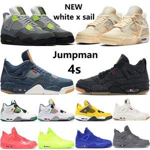 Top New 4 branco x vela 4S sapatos mens Jumpman basquete denim formadores de jogo real pretos brancos rasta homens SE de néon das sapatilhas