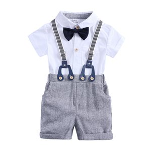 2020 New Baby boy clothes kids summer solid formal sets romper+shorts 2pcs bow tie clothes Toddler kids sets outfits 0-2 MB508