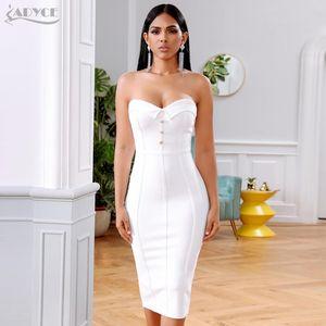 Adyce été blanc Robe Bandage femmes Robes 2020 Sexy manches bretelles Club robe Celebrity SOIRÉE Runway