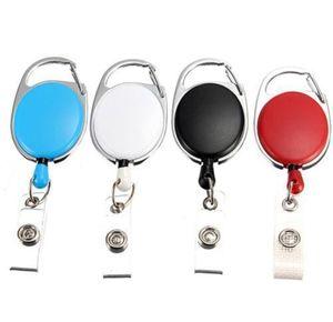 200 pcs Retractable Pull Key Ring Chain Reel ID Lanyard Name Tag Card Badge Holder Reel Recoil Belt Key Ring Clip