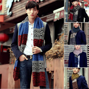 Men Casual Scarf Autumn Winter Warm Shawl Wrap Fashion Geometric Knitted Scarf Outdoor Vintage Men Muffler Blankets Gifts YFA2086