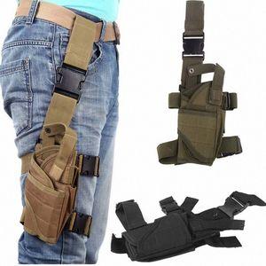 5 cores ajustável Tactical puttee Coxa Perna Shouder Pistol Gun Holster Pouch Camping wrap-around exterior Caça Acessórios zjPQ #