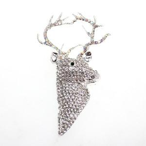Spedizione gratuita strass d'argento di Natale renna Spilla Deer Head Spilla