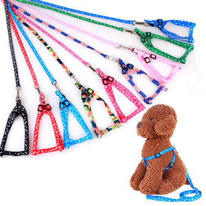 120cm Pet Printed Harness Leash Dog Collars Adjustable Rope Puppy Cat Leashes Pet Supplies for Small Dogs 11 Colors HHA1493