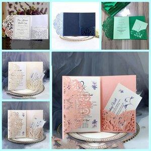 Wedding Invitation Cards Kits Spring Flower Laser Cut Pocket Bridal Invitation Card Engagement Graduate Birthday Party Invites LXL354