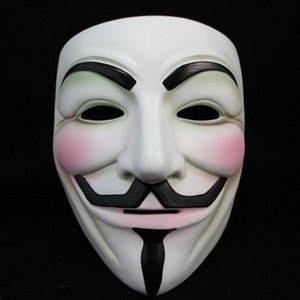 Blanc V Masque de mascarade Masque Masques Eyeliner Halloween facial Party Props Vendetta Anonyme Film Guy gratuit en gros DHB578 expédition