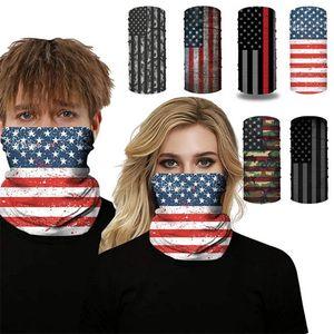 American flag print hip hop headscarf Breathable dust-proof Face mask Outdoor Riding Masks Designer Mask T9I00457