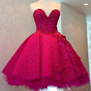 2020 Fuchsia Lace Ball Gown Short Prom Dresses Sweetheart Crystal Appliques Evening Party Dress Ruched Mini Cocktail Gowns