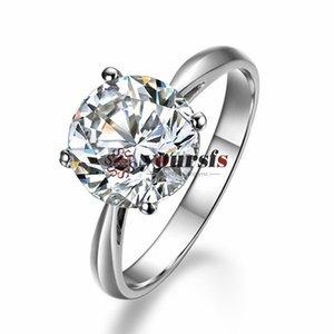 Spedizione gratuita Oro Bianco 18 carati Placcato Utilizzare Austria Cristallo 2.5 ct emulational è Bande di Nozze di Fidanzamento con Diamante Anello di Promessa R136W1