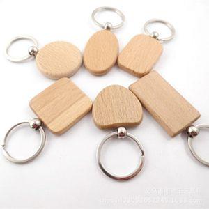 Yaratıcı Ahşap Anahtarlık Anahtar Zincirler Yuvarlak Kare Dikdörtgen Şekli Blank Ahşap Anahtar Yüzükler DIY Anahtarlık Hediye IIA247