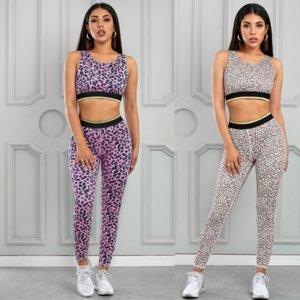 Femmes Survêtement Belle Blazer Retour Lift Minceur Fesses Fitness Pantalon Sport Yoga Costume rose et imprimé léopard Taille: S-2XL