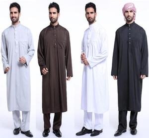 Mens Kaftan Men Robe Saudi Jubba Muslim Dress 2 Pieces Abaya Set Thoub Thobe Dishdasha Jubah Caftan Islamic Clothing Middle East