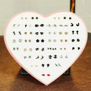 2016 Lubingshine Women 36 Pairs Lot Cute Acrylic Small Stud Earrings Sets Girl Fashion Party Birthday Jewelry With Heart Gift Box queen66 wR