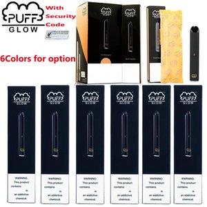 새로운 PUFF BAR GLOW 처분 할 수있는 장치 포드 스타터 키트 280mAh 배터리 1.4ml 카트리지 Vape 펜 보안 코드 LED 라이트 증발기 사전 작성
