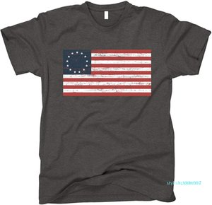 Men's Betsy Ross Distressed American Flag Shirt t01s07