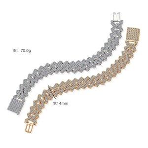 European and American hiphop mens dense diamond Cuba chain high quality copper jewelry 14mm diamond Cuban Bracelet factory direct sales