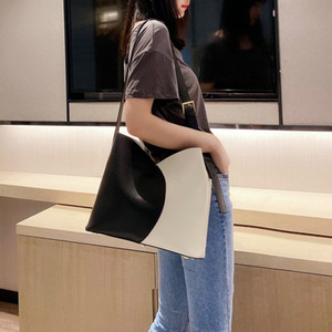 Stitching Contrast Color artwork Shoulder Diagonal Bucket Bags for Women designer 2020 hot sale COW Leather single casual Bag