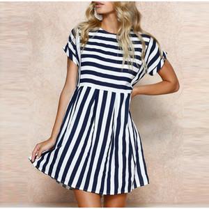 Gestreifte Druck A-Linie Mini-Kleid-Frauen O-Ansatz Kurzschluss-Hülsen-Strand-Kurzschluss-Kleid weiblich 2020 Sommer-beiläufige Art und Weise Lady Vestidos