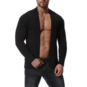 Solid Color Sweaters Autumn and Winter Mens Cardigan Sweaters Fashion Designer Long Sleeved Lapel Neck Tops