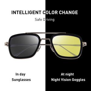 CAPONI Night Vision Tony Stark Sun-Glas-Gelb-Linse Driving Shades Für Männer 2020 Neue UV-Schutz der Augen-Sonnenbrille-Männer BSYS6618