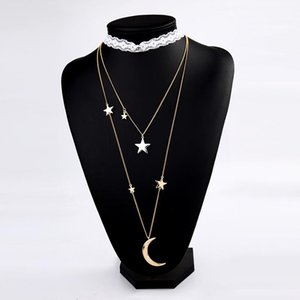 New Exquisite Crystal Moon Star Layered Pendant Necklace For Women Gold Color Velvet Strip&Link Chains Choker Necklaces