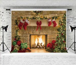 Sueño 7x5ft Chimenea de Navidad Telón de fondo Christmas Tree Gifts Fotografía Decoración de fondo de Navidad para Shoot tema del partido de vacaciones Estudio Prop
