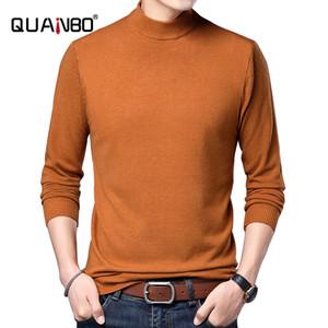 Quanbo 2020 Nouvelle arrivée Turtelneck mince Sweater solide Couleur Slim Fit Mode Elasticité overs 7 Couleur Vêtements Marque