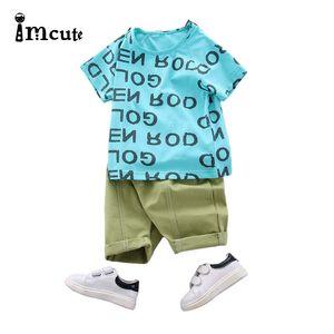 Imcute 2020 0-24M 2pcs Newborn Baby Boys Clothes Set Kid Print Letter DOR T-shirts Short Sleeve Tops Shorts Set