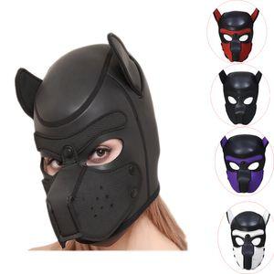 Pup Puppy Play Dog Hood Mask BDSM Bondage Toy Bondage Restraint Hood Mask Fetish Hood Pet Role Play Sex Toys For Couples Y200616