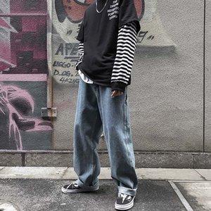 Jungen trendy Student Jeans breit Bein lose gerade Jeans 9-Punkt-Hosen 9-Fen ku 9 Fen ku ins 9-Punkt-Hosen fallen