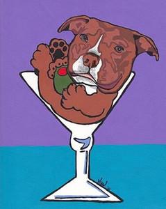 Kırmızı Pit Bull Martini Köpek Pop Art VERN Ev Dekorasyonu El Sanatlarını / Açık Tuval Wall Art Canvas Resimler 200.715 Boyama HD Baskı Yağ ile Boyama