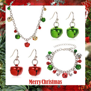 Europe and the United States Cross Border New Christmas Necklace Set Jewelry Colorful Bell Necklace Bracelet Earrings Christmas Ornaments