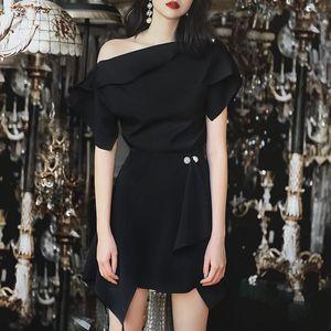 Women's summer Hepburn style French off-shoulder Women's summer ji he 8798 socialite Slim fit irregular two-piece suit 8798