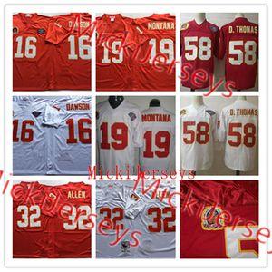 Mens NCAA # 58 Derrick Thomas Weinlese-Fußball-Jersey-nähte Red White # 16 Len Dawson # 19 Joe Montana # 32 Marcus Allen Jersey S-3XL
